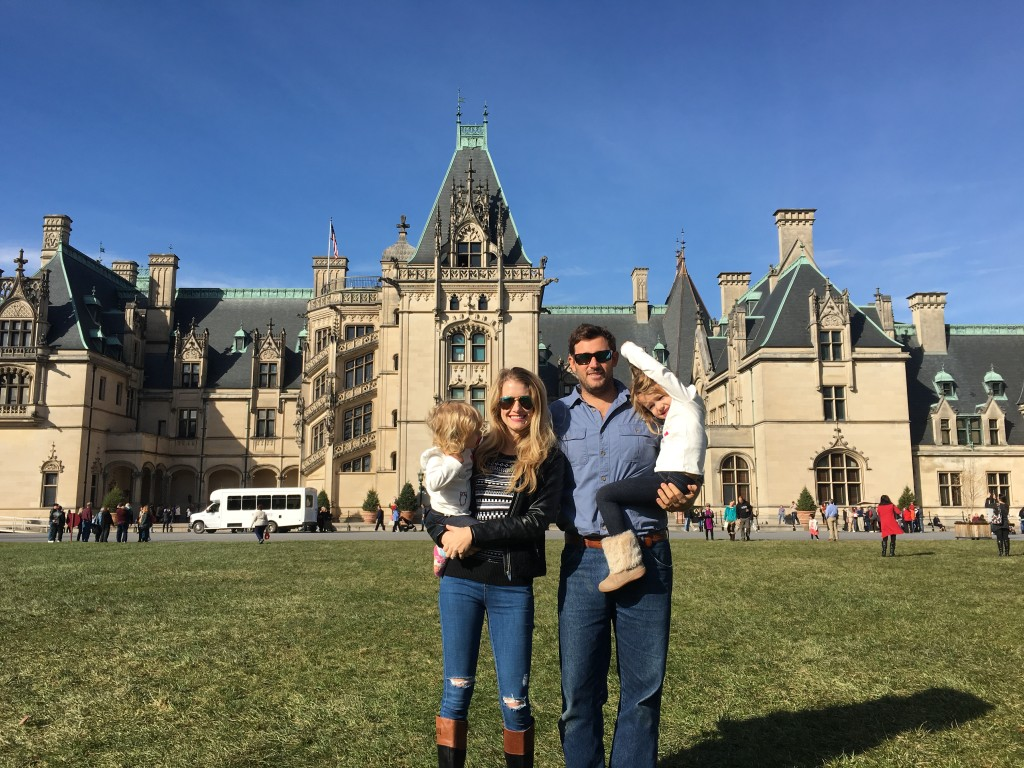 Jennifer Burby and her family in front of the Biltmore Mansion in Asheville, North Carolina.